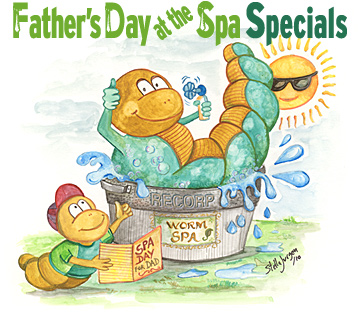 Father's Day at the Spa - Recorp Inc. June Special, Copyright � 2010, Recorp Inc., illustration by Stella Jurgen.